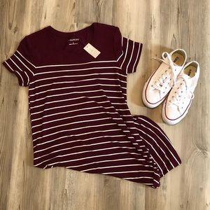 Striped Burgundy T-Shirt Dress